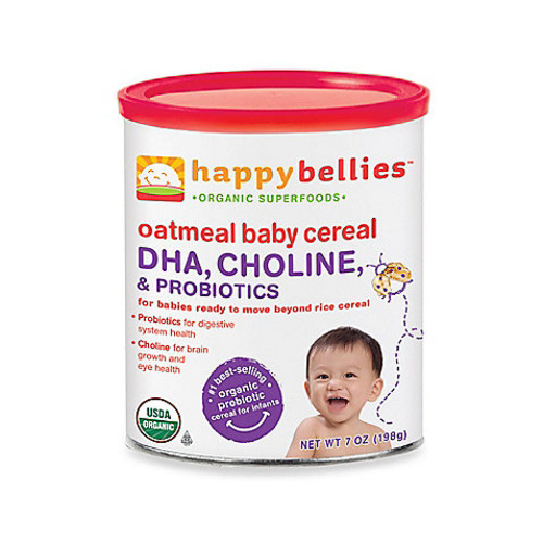 Happy Baby Happy Bellies Organic Baby Cereal with DHA + Pre & Probiotics in Oatmeal