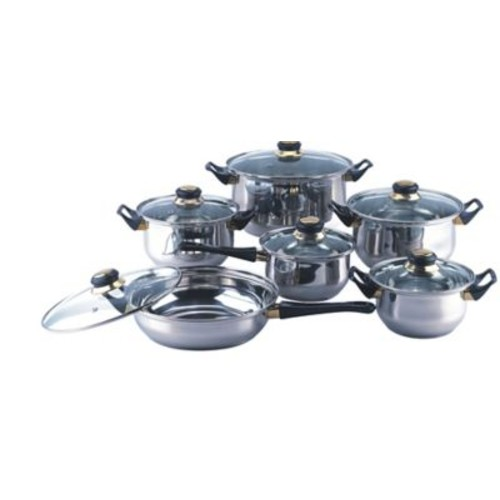 Gourmet Chef Gourmet Chef 12 Stainless Steel Piece Cookware Set; Clear
