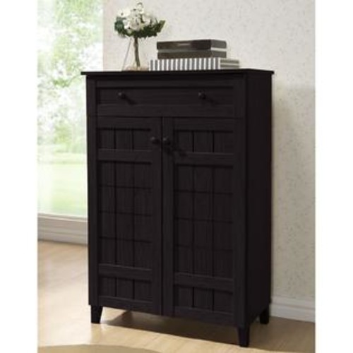 Baxton Studio Glidden Dark Brown Wood Tall Modern Shoe Cabinet