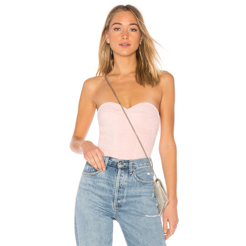 by the way. Carla Faux Suede Bodysuit in Blush