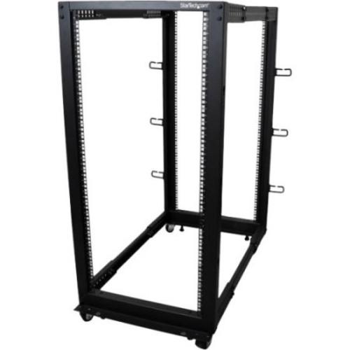 Startech.com 25u Adjustable Depth Open Frame 4 Post Server Rack W/ Casters / Levelers And Cable Management Hooks - 18.30