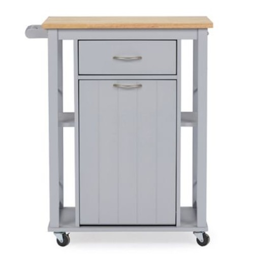 Baxton Studio Yonkers Kitchen Cart in Light Grey