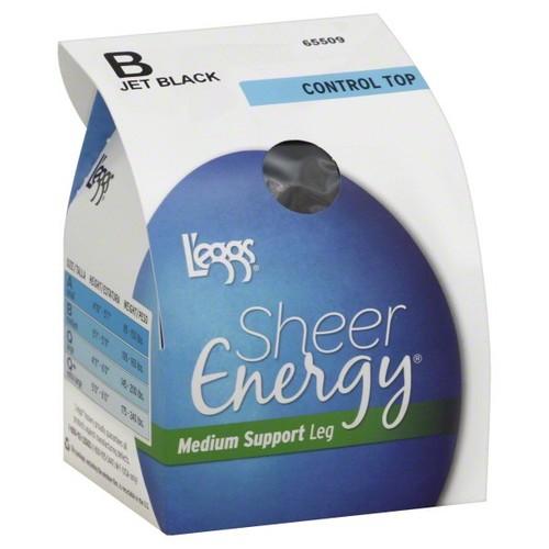 Leggs Sheer Energy Pantyhose, Control Top, Medium Support Leg, Size B, Jet Black, 1 pair