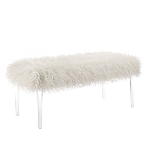 LINON HOME DECOR Faux Flokati Upholstered Wooden Bench with Foam Top and Acrylic Tapered Leg