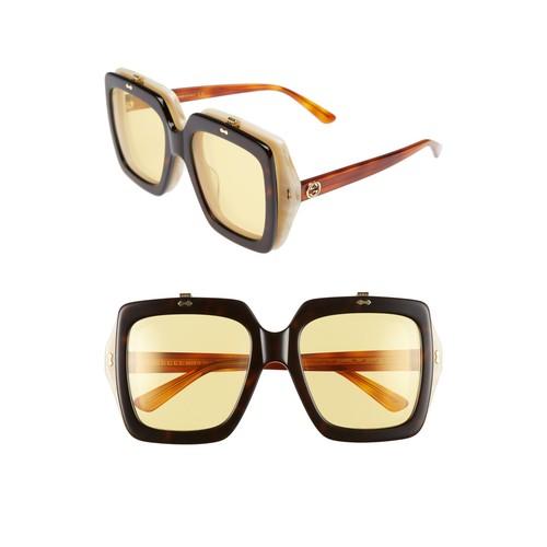 GUCCI 55Mm Flip-Up Sunglasses