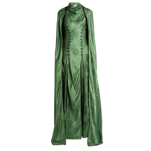 El Capo detachable-cape satin gown