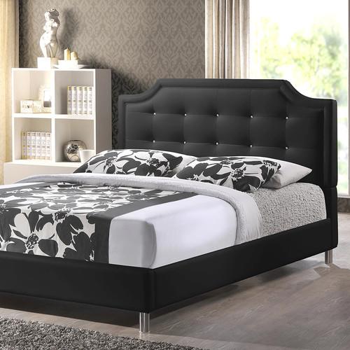 Baxton Studio Carlotta Modern Black Faux Leather Platform Bed with Upholstered Headboard