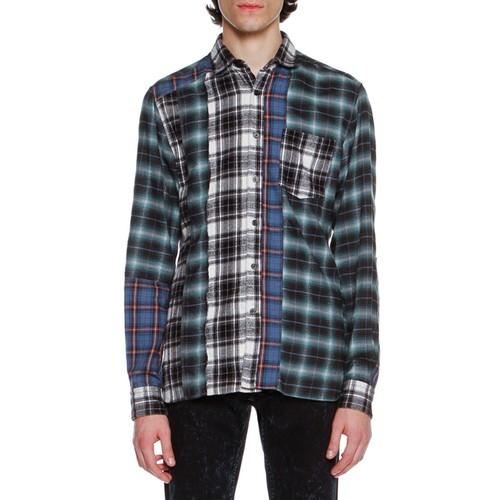 LANVIN Patchwork Plaid Flannel Shirt, Blue/Black