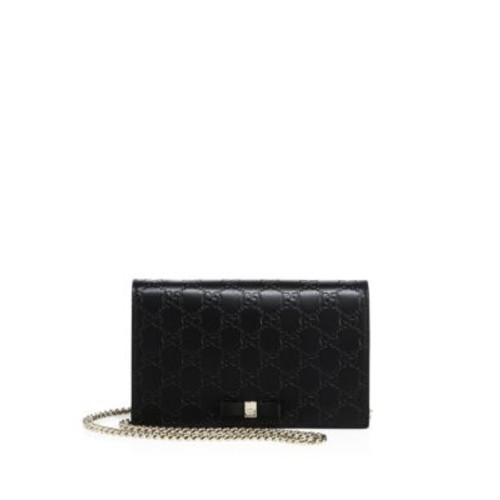 GUCCI Bowy Gg Leather Chain Wallet