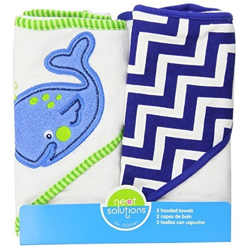 Neat Solutions Applique Print Interlock Knit Terry Hooded Towel Set, Whale, 2-Count [Whale]