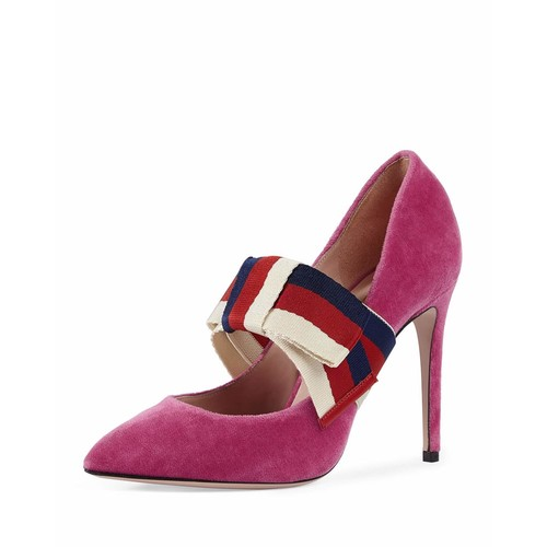GUCCI Velvet Web Mary Jane Pump, Pink