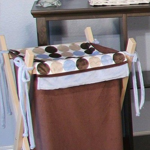 Brandee Danielle Blue Chocolate Polka Dot Laundry Hamper