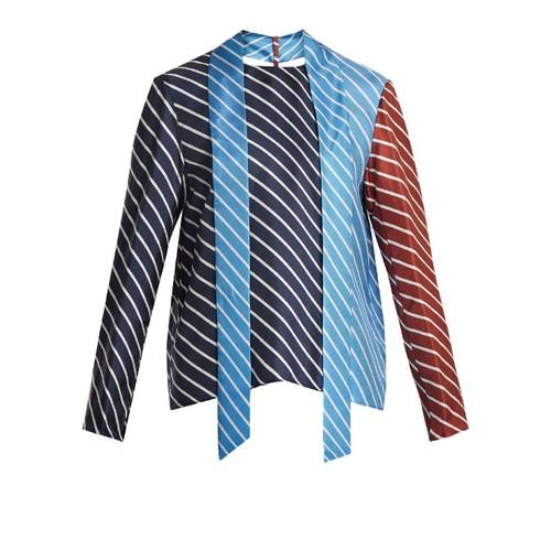 Delphina tie-neck striped silk top