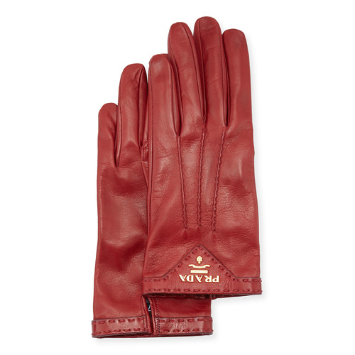 PRADA Napa Leather Gloves, Ruby