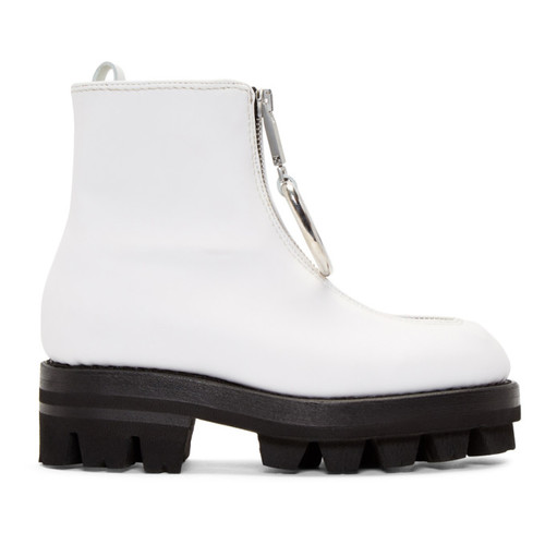 White D-Ring Tank Boots
