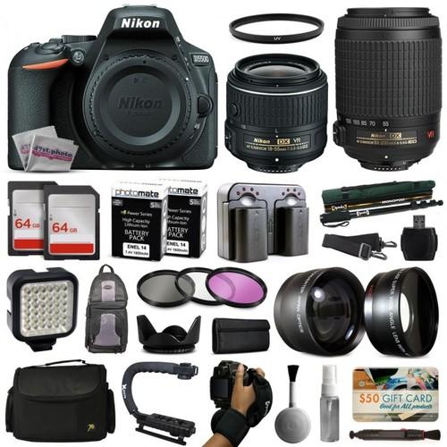 Nikon D5500 Digital Camera 18-55mm + 55-200mm + 2 Lens + 128GB Bundle Kit 1546