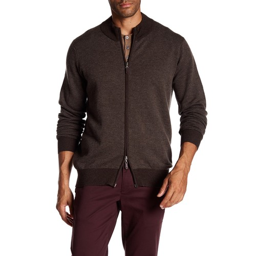 Wool Blend Twill Knit Zip Sweater