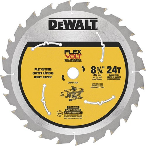 DEWALT FLEXVOLT Table Saw Blade  8 1/4in. Dia., 24 Tooth, Fast Cutting, For Wood,