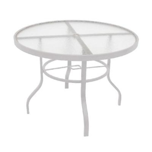 Marco Island 42 in. White Acrylic Top Commercial Metal Outdoor Patio Dining Table