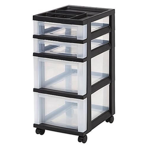 IRIS 4-Drawer Rolling Storage Cart in Black