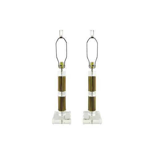 Brass & Lucite Table Lamps, Pair