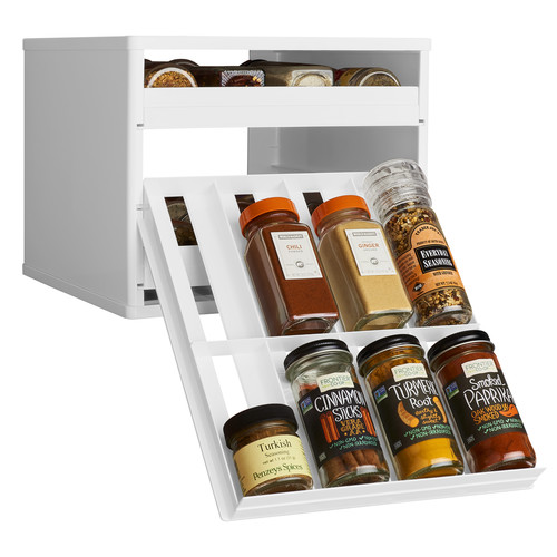 YouCopia Classic SpiceStack 24-Bottle Spice Organizer with Universal Drawers, White [White, 24 Bottles]