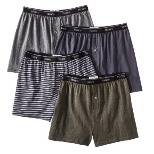 Hanes Premium Men's 4pk Knit Boxer Briefs - Gray