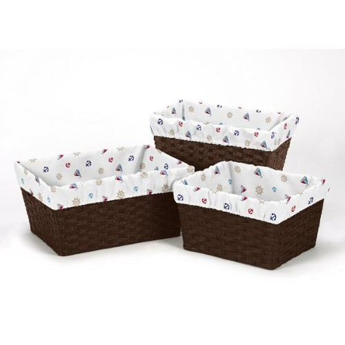Set of 3 One Size Fits Most Basket Liners for Nautical Nights Bedding Sets by Sweet Jojo Designs - Sail Boat Print