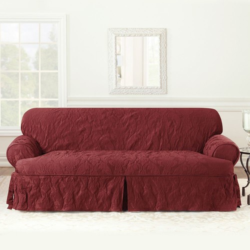 Sure Fit Matelasse Damask T-Cushion Sofa Slipcover