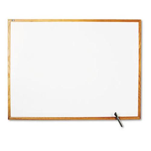 Quartet S574 Standard Dry-Erase Board Melamine 48 x 36 White Oak Finish Wood Frame