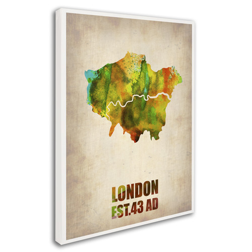 Trademark Global Naxart 'London Watercolor Map' Canvas Art [Overall Dimensions : 18x24]