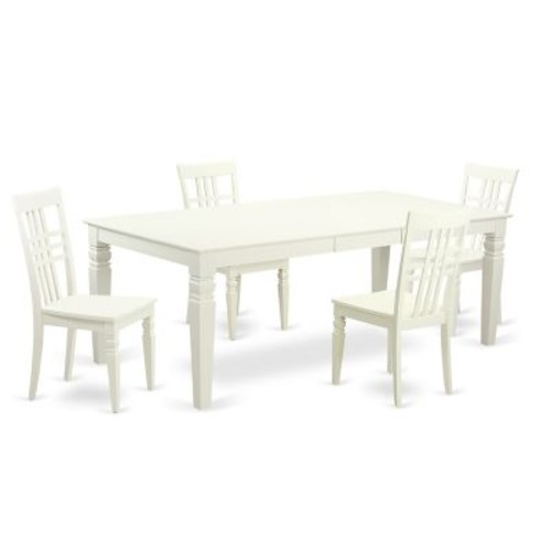 Darby Home Co Beesley 5 Piece White Wood Dining Set; Linen White