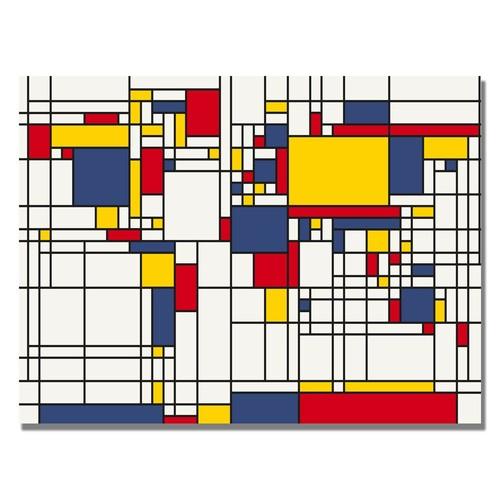 Trademark Global Michael Tompsett 'Mondrian World Map' Canvas Art [Overall Dimensions : 18x24]
