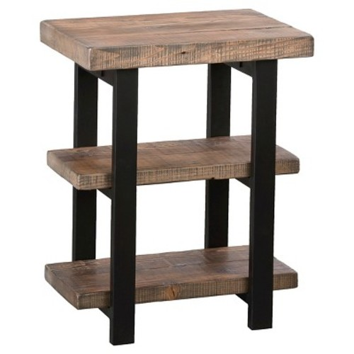 Industrial 2-shelf End Table Reclaimed Wood Rustic Natural - Alaterre Furniture