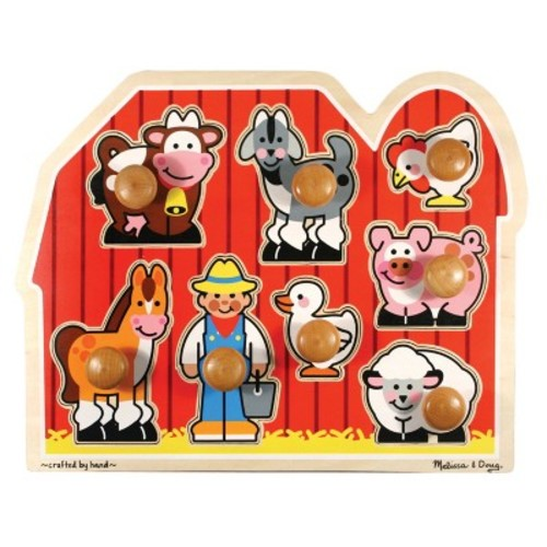 Melissa & Doug Farm Animals Jumbo Knob Wooden Puzzle 8pc