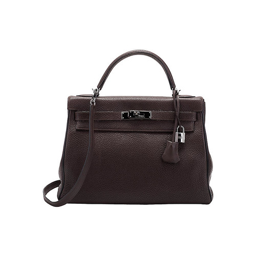 Herms 32cm Black & Ebene Kelly Bag