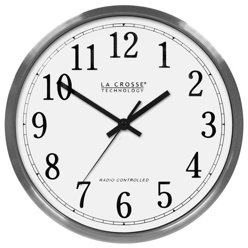 La Crosse Technology 12 In. Stainless Steel Atomic Analog Wall Clock - 12