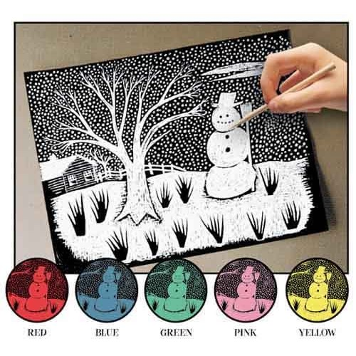 Melissa & Doug Scratch Art Paper Solid Color Assortment With Stylus - 12 Sheets, 6 Colors [1]