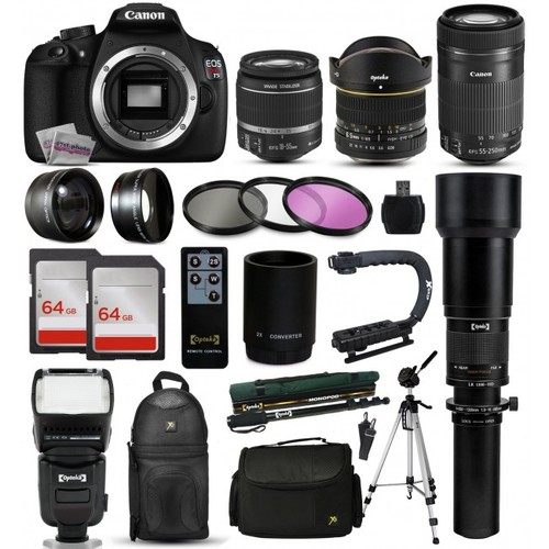 Canon T5 DSLR Camera + 18-55mm IS II + 55-250mm STM + 650-1300mm + 128GB + More