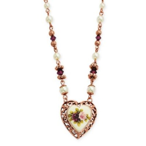 1928 Jewelry Rose Goldtone Simulated Pearl and Crystal-Accented 18-Inch Chain Heart Necklace