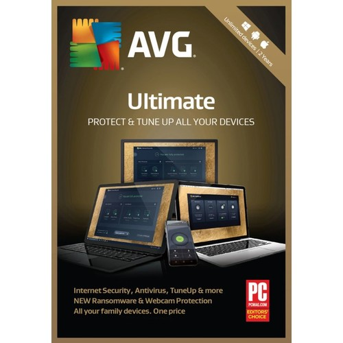 Avast AVG Ultimate 2018 Unlimited, For PC/Mac, Product Key Card