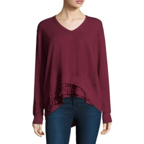 Ruffle V-Neck Sweatshirt