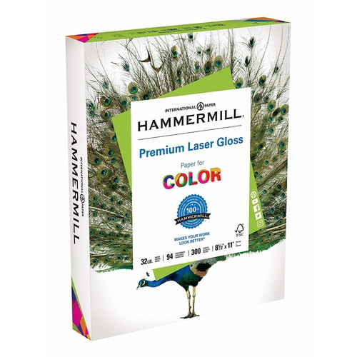 Hammermill 163110 Color Laser Gloss Paper, 94 Brightness, 32lb, 8-1/2 x 11, White (Pack of 300 Sheets)