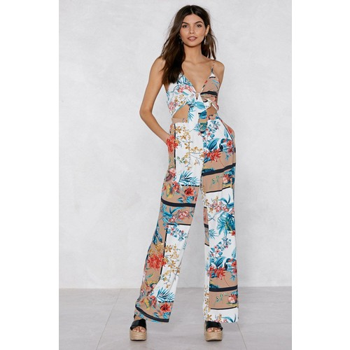 Getting Off Tropic Tie Jumpsuit
