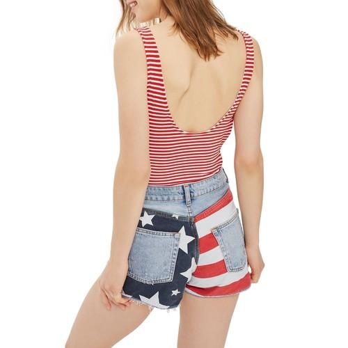 Flag Ripped Mom Shorts
