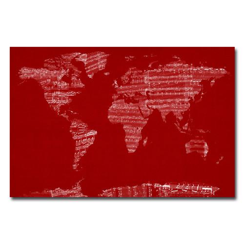 Trademark Global Michael Tompsett 'Sheet Music World Map' Canvas Art [Overall Dimensions : 30x47]