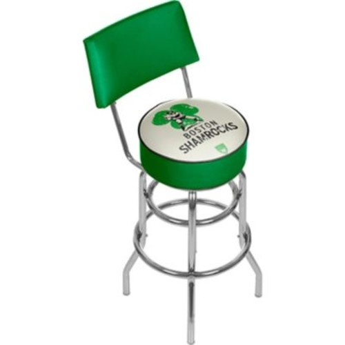 Trademark Global VAF VAF1100-BS Steel Padded Swivel Bar Stool with Back, Boston Shamrocks