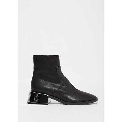 Sheep Skin Mirror Heel Ankle Boots