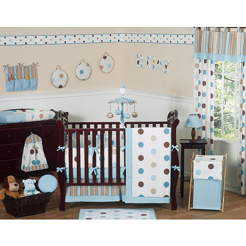 Sweet Jojo Designs Blue and Chocolate Mod Dots Collection Large Dot Fitted Crib Sheet
