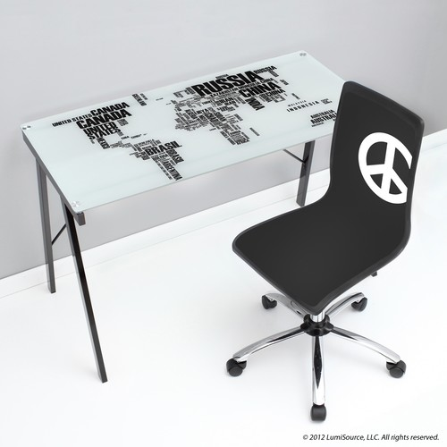 LumiSource World Map Office Desk/ Drafting Table